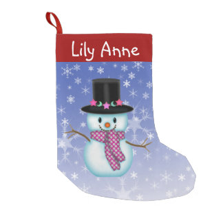 Cute Happy Snowman Christmas Stocking Personalized