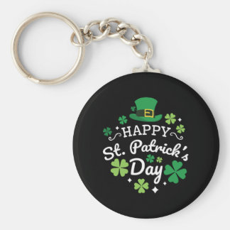 Cute Happy St. Patrick's Day Print Keychain