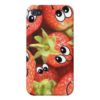 Cute Happy Strawberries Cases For iPhone 4