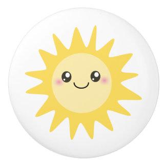 Cute Happy Sun cartoon - nursery decor Ceramic Knob