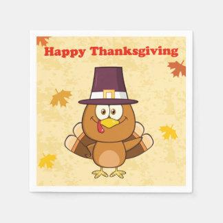 Cute Happy Thanksgiving Turkey Disposable Napkins