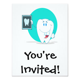 "cute happy tooth character with clean xray 4.25"" x 5.5"" invitation card"