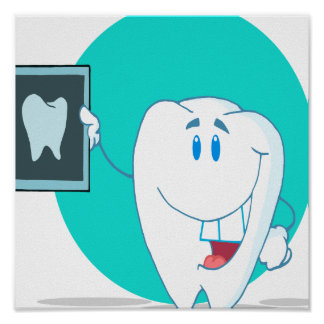 cute happy tooth character with clean xray poster