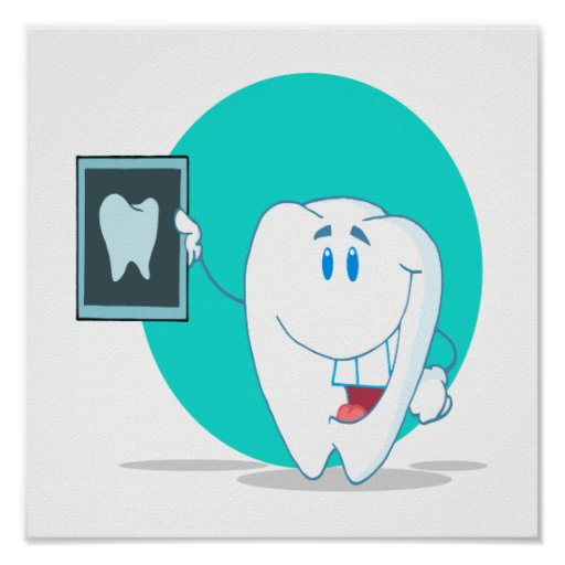 cute happy tooth character with clean xray print
