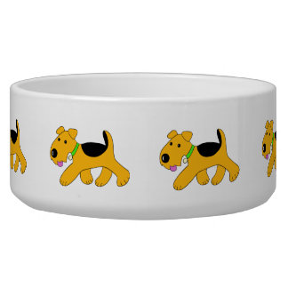 Cute Happy Trotting Airedale Dog Bowl (Large)