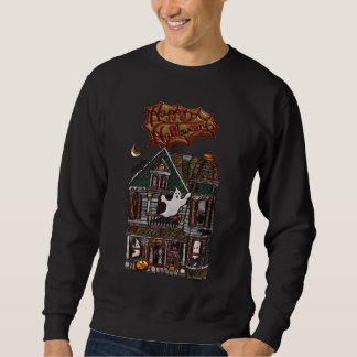 Cute Haunted House Faux Jewel Print Sweatshirt
