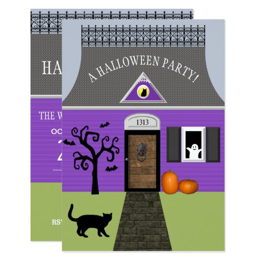 Cute Haunted House Halloween Invitation Small