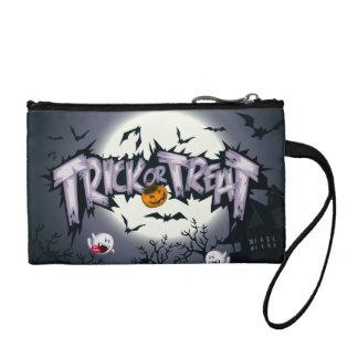 "Cute haunted moon ""Trick or Treat"" ghostly pumpkin Change Purse"