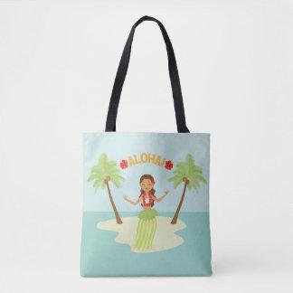 Cute Hawaiian Hula Girl Luau Tote Bag