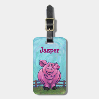 Cute Heads and Tails Pig Personalized Travel Tag