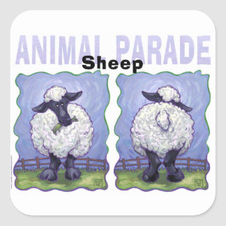 Cute Heads and Tails Sheep Square Sticker