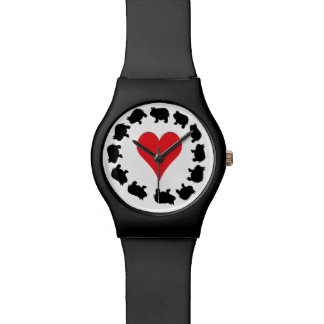 Cute Heart and Black Mini Pigs Wrist Watches