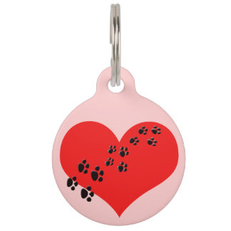Cute Heart and Paw Prints Pet Tag