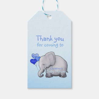 Boy baby shower gift tags zazzle cute heart balloons elephant blue baby boy shower gift tags negle Gallery
