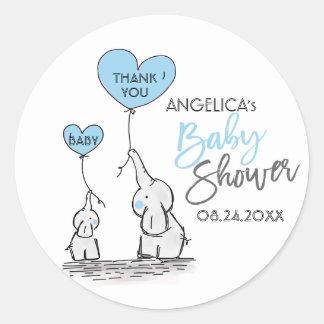 Cute Heart BOY Blue Elephant Mommy & Baby Shower Classic Round Sticker