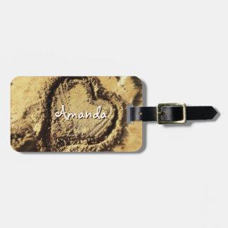 Cute heart drawn in golden sand photo custom name luggage tag