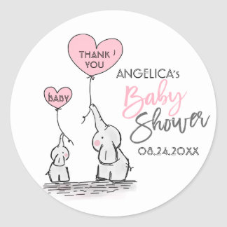 Cute Heart Girl Pink Elephant Mommy & Baby Shower Classic Round Sticker