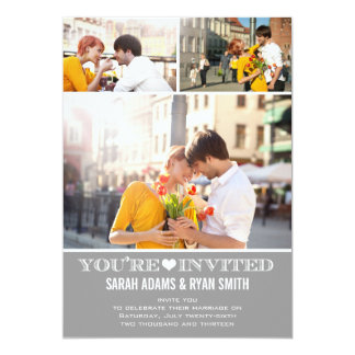 Cute Heart Grey Wedding Three Photo Invitation