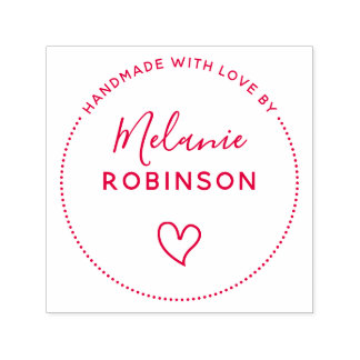 Cute Heart | Handmade With Love By Custom Name Self-inking Stamp