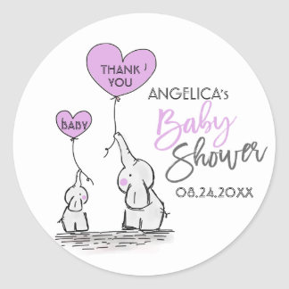 Cute Heart LAVENDER Elephant Mommy & Baby Shower Classic Round Sticker