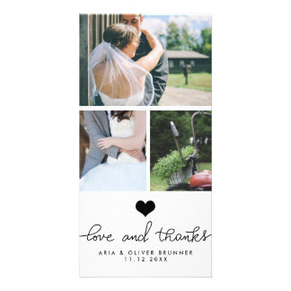 Cute Heart Love And Thanks Typography Wedding Card