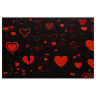 Cute Heart Modern Black Red Fabric