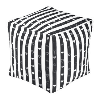 Cute Heart Modern Black Stripe Pouf