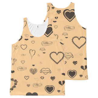 Cute Heart Modern Dark Gray All-Over-Print Tank Top