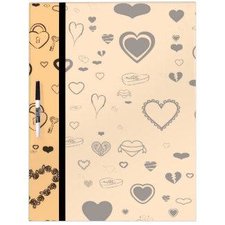 Cute Heart Modern Dark Gray Pattern Dry Erase Board