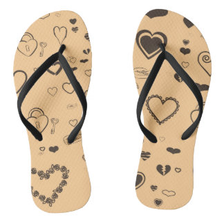 Cute Heart Modern Dark Gray Pattern Flip Flops