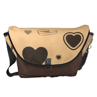 Cute Heart Modern Dark Gray Pattern Messenger Bags