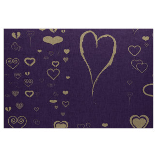 Cute Heart Modern Dark Purple Fabric