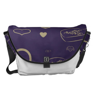 Cute Heart Modern Dark Purple Pattern Courier Bags