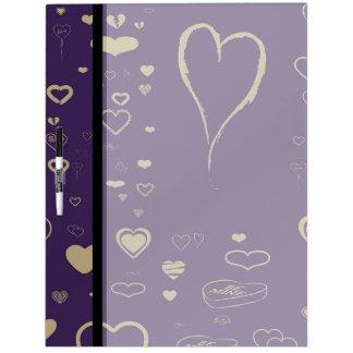 Cute Heart Modern Dark Purple Pattern Dry Erase Board