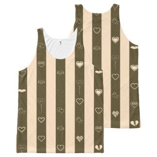 Cute Heart Modern Donkey Brown Stripe All-Over-Print Tank Top