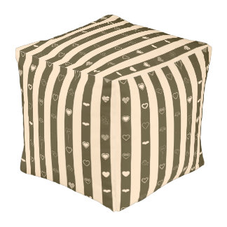 Cute Heart Modern Donkey Brown Stripe Pouf