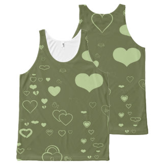 Cute Heart Modern Green All-Over-Print Tank Top