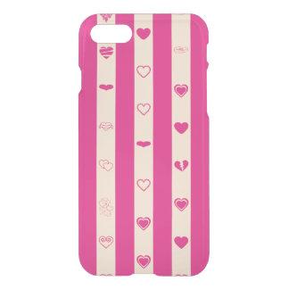 Cute Heart Modern Hot Pink Stripe iPhone 8/7 Case