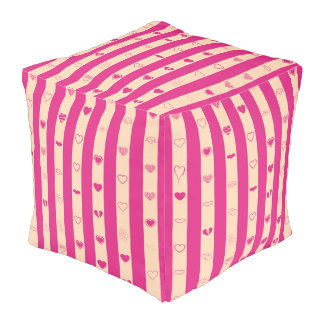 Cute Heart Modern Hot Pink Stripe Pouf