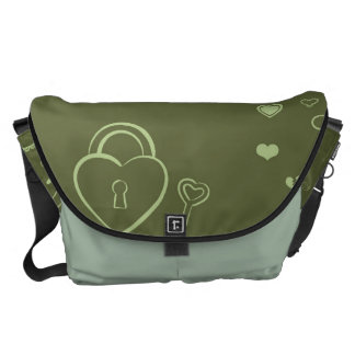 Cute Heart Modern Moss Green Pattern Commuter Bags