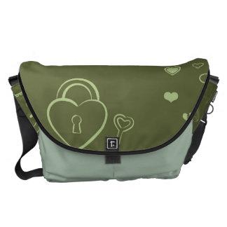 Cute Heart Modern Moss Green Pattern Courier Bag