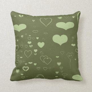 Cute Heart Modern Olive Throw Pillow