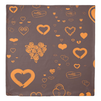 Cute Heart Modern Orange Brown Duvet Cover
