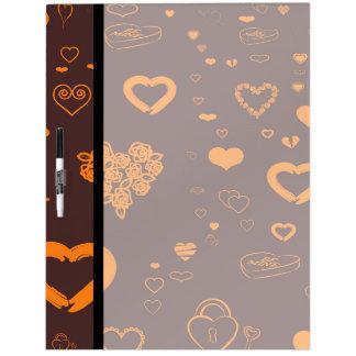 Cute Heart Modern Orange Pattern Dry Erase Board