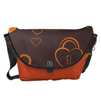 Cute Heart Modern Orange Pattern Messenger Bags