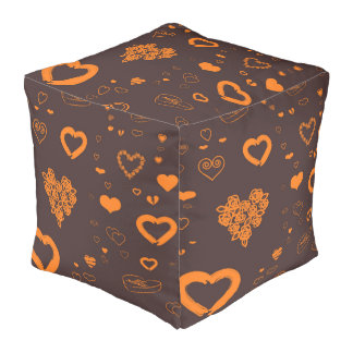 Cute Heart Modern Orange Pouf