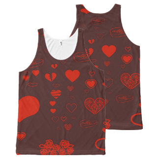 Cute Heart Modern Orange Red All-Over-Print Tank Top