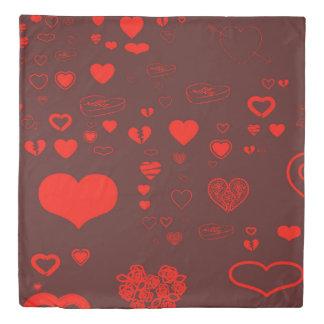 Cute Heart Modern Orange Red Duvet Cover