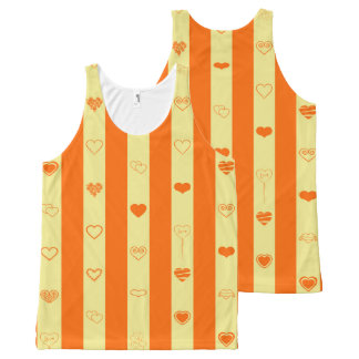 Cute Heart Modern Orange Stripe All-Over-Print Tank Top