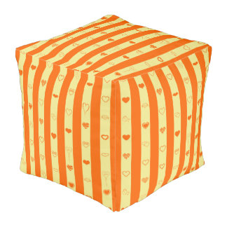 Cute Heart Modern Orange Stripe Pouf